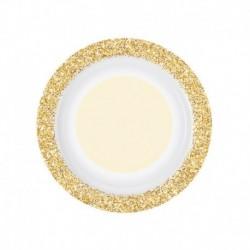 8 Piatti Tondi Carta Glitter Oro 18 cm