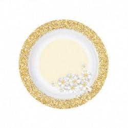 8 Piatti Tondi Carta Glitter Oro Fiori 18 cm