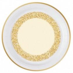 8 Piatti Tondi Carta Glitter Oro 23 cm