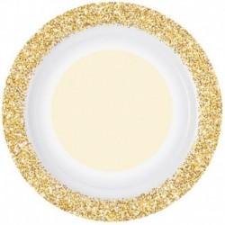 8 Piatti Tondi Carta Glitter Oro 26 cm