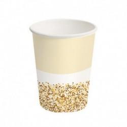 8 Bicchieri Carta Glitter Oro 250 ml