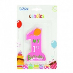 Candela Numero 1 1st Birthday Rosa 10 cm