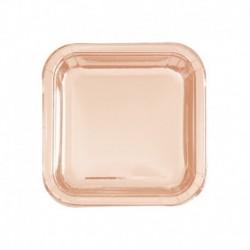 8 Piatti Quadrati Carta Rose Gold 18 cm