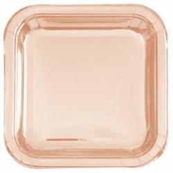 8 Piatti Quadrati Carta Rose Gold 23 cm