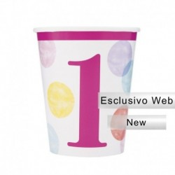 8 Bicchieri Carta Pois Rosa 266 ml