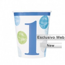8 Bicchieri Carta Pois Blu 266 ml