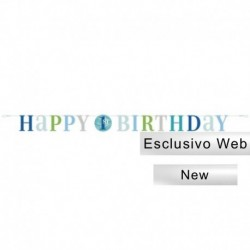 Festone Happy 1st Birthday Pois Blu