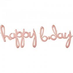 Pallone Happy B-Day Rosa Gold 190x68 cm