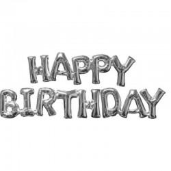 Pallone Happy Birthday Argento 75x22 cm