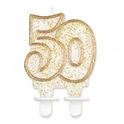 Candela Numero 50 Oro 12 cm