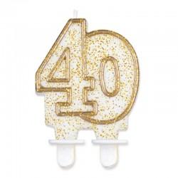 Candela Numero 40 Oro 12 cm