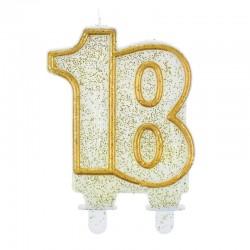 Candela Numero 18 Oro 12 cm