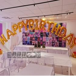 Composizione Lettere Happy Birthday Oro