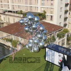 Decorazione Arco Organico Orbz Mylar Argento