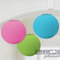 3 Lanterne Carta Palla Color 25 cm