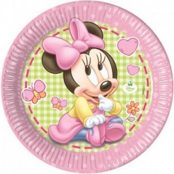 8 Piatti Tondi Carta Minnie 23 cm