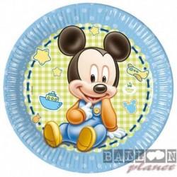 8 Piatti Tondi Carta Mickey 23 cm