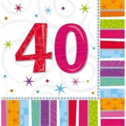 16 Tovaglioli Carta 40 Anni 33x33 cm