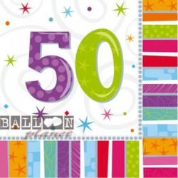16 Tovaglioli Carta 50 Anni 33x33 cm