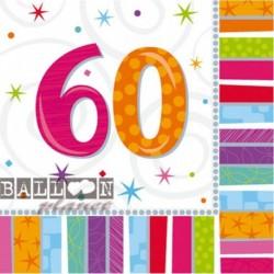 16 Tovaglioli Carta 60 Anni 33x33 cm
