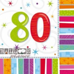 16 Tovaglioli Carta 80 Anni 33x33 cm