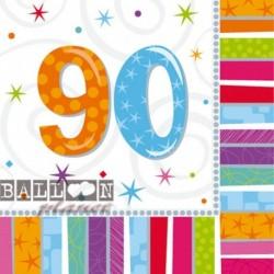 16 Tovaglioli Carta 90 Anni 33x33 cm