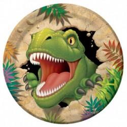 8 Piatti Tondi Carta Dinosauri 23 cm