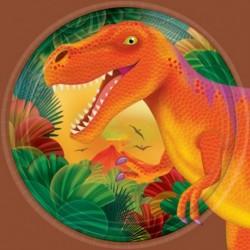8 Piatti Tondi Carta Dinosauri 18 cm