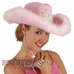Cappello Cowgirl Marabou Rosa