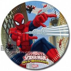 8 Piatti Tondi Carta Spiderman 23 cm