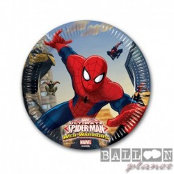 8 Piatti Tondi Carta Spiderman 20 cm