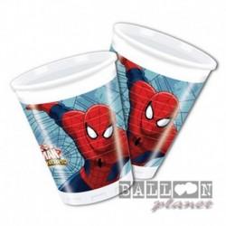 8 Bicchieri Plastica Spiderman 200 ml