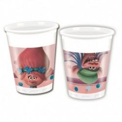 8 Bicchieri Plastica Trolls 200 ml