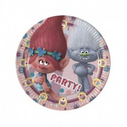 8 Piatti Tondi Carta Trolls 20 cm