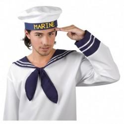Cappello Marinaio Tessuto Bianco Blu