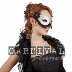 Maschera Tessuto Party Argento