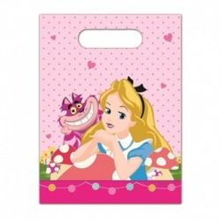 6 Loot Bags Alice in Wonderland 18x22 cm