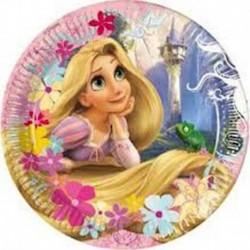 8 Piatti Tondi Carta Rapunzel 20 cm