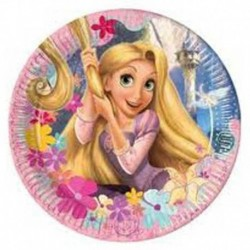 8 Piatti Tondi Carta Rapunzel 23 cm