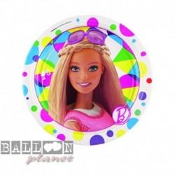 8 Piatti Tondi Carta Barbie 18 cm
