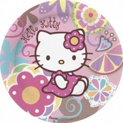 8 Piatti Tondi Carta Hello Kitty 23 cm