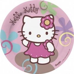 8 Piatti Tondi Carta Hello Kitty 18 cm