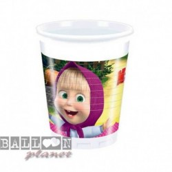 8 Bicchieri Plastica Masha e Orso 200 ml