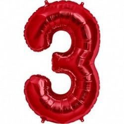 Pallone Numero 3 Rosso 90 cm