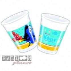 8 Bicchieri Plastica Dory e Nemo 200 ml