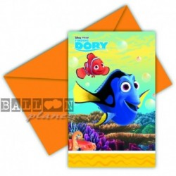6 Inviti e Buste Dory e Nemo