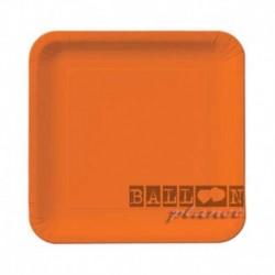 16 Piatti Quadrati Carta Arancio 18 cm