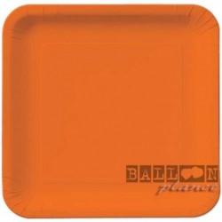 14 Piatti Quadrati Carta Arancio 23 cm