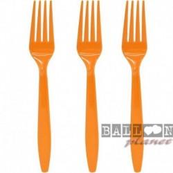 24 Forchette Plastica Arancio 18 cm