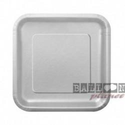 16 Piatti Quadrati Carta Argento 18 cm